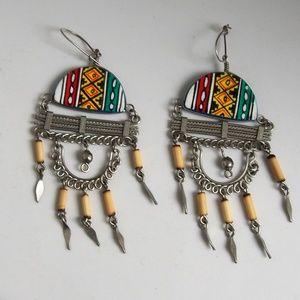 Hand-Painted Southwestern Tassel Brass Earrings